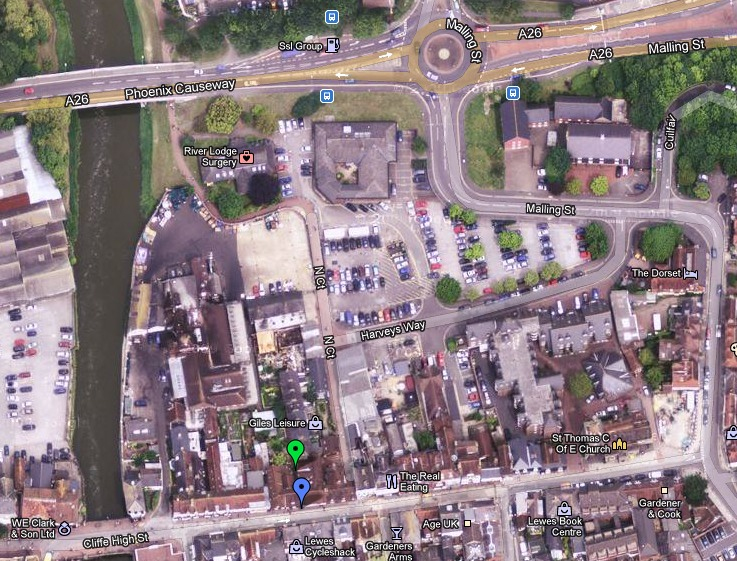 Aerial photo of Lewes showing location of the Workshop
